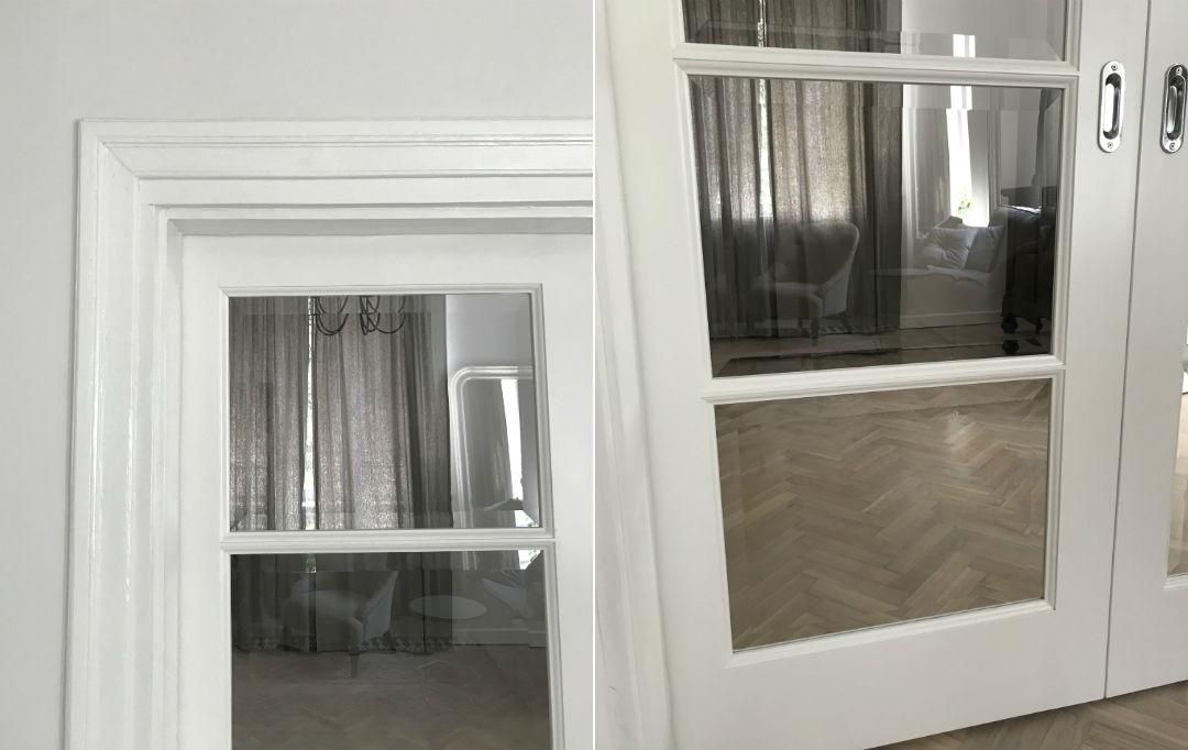 drzwi ze szprosami, fazowane szyby, białe
