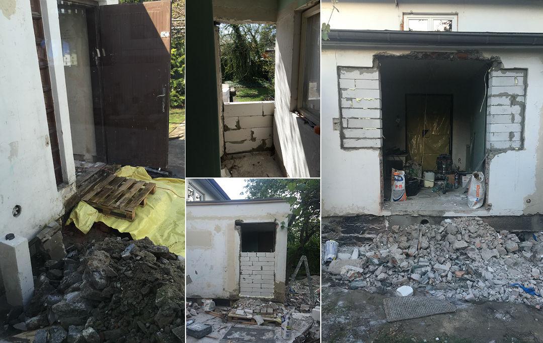 przebudowa ganku sieni w starym domu