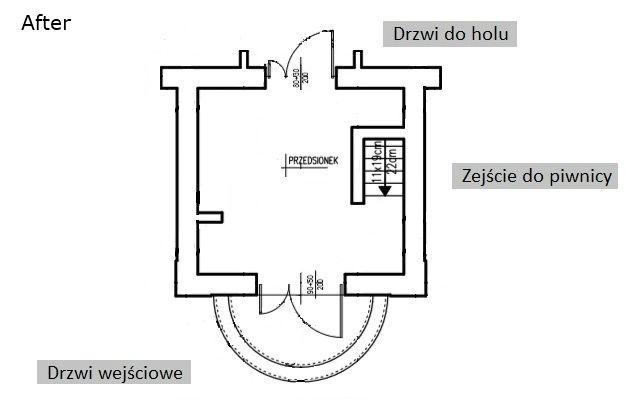 plan holu wejściowego po remoncie i przebudowie