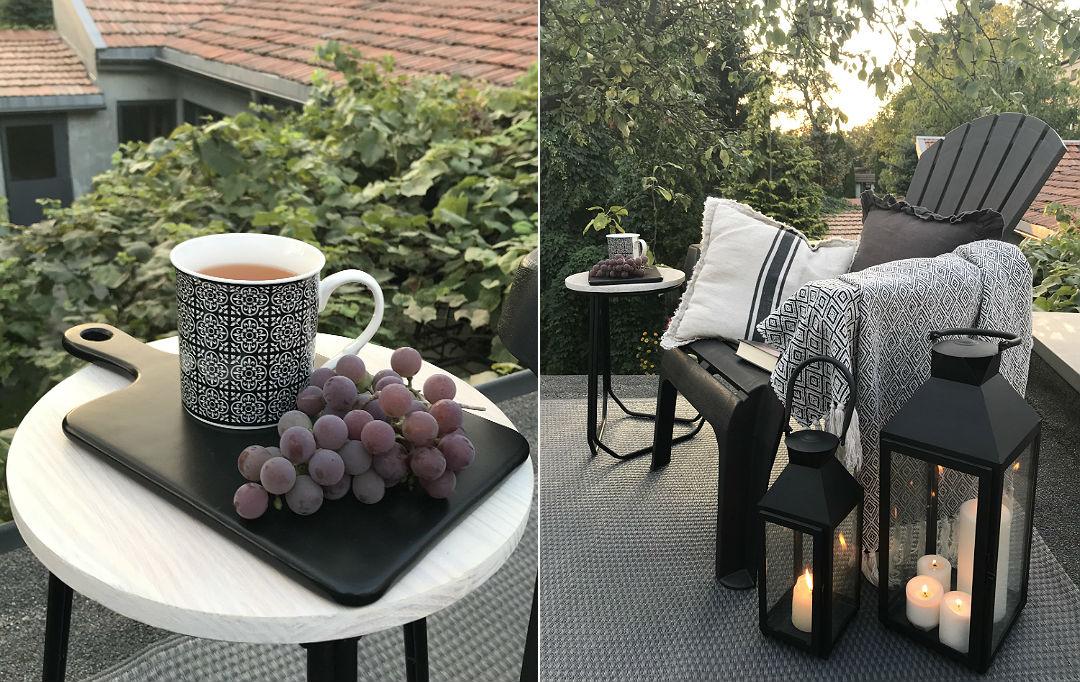 widok na zachód słońca, herbatka na dachu, własny winogron