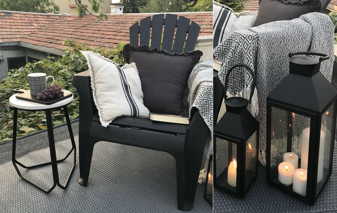wygodny fotel ogrodowy, lampiony w stylu loft do ogrodu