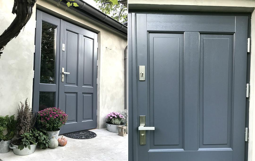 dębowe drzwi RAL 7015 z naświetlem bocznym z przeszkleniem listwy retro