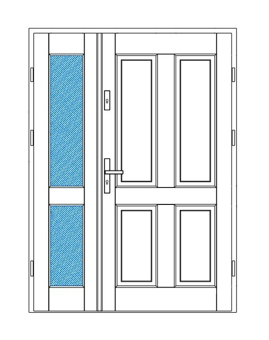 projekt drzwi zewnętrznych retro z naświetlem bocznym
