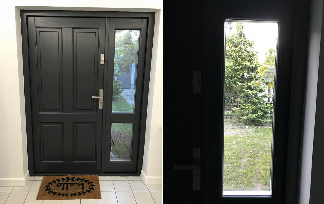 drzwi zewnętrzne dębowe z przeszkleniem
