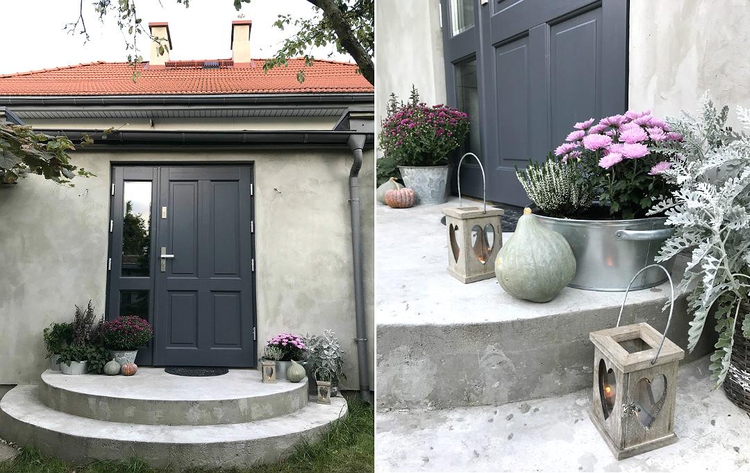 drzwi zewnętrzne w starym domu dębowe szare