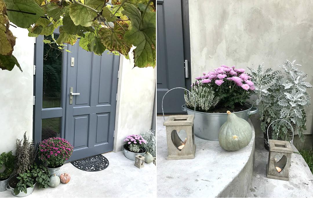 strefa wejściowa na jesień jesienne kwiaty ozdoby dynie lampiony