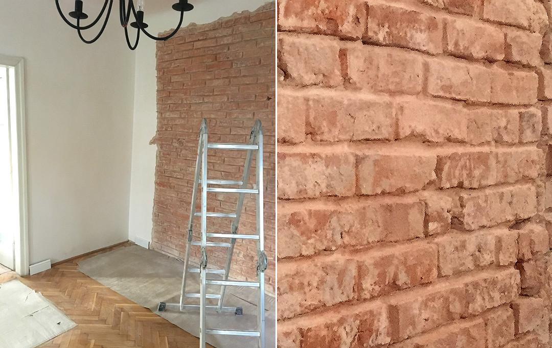 prace nad starą cegłą, ściana z cegły jak zrobić