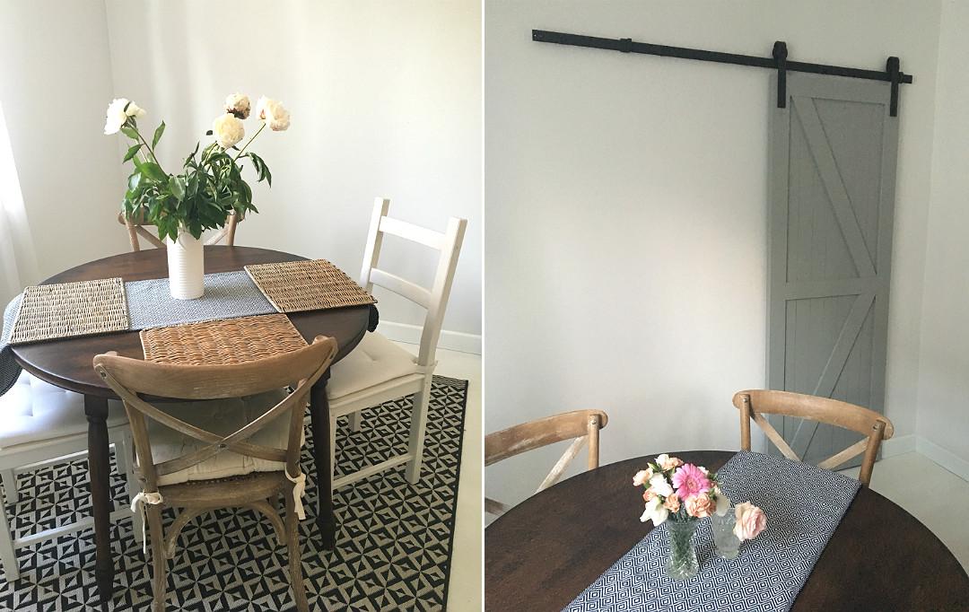 jadalnia w starym domu, drzwi loft na rustykalnej prowadnicy, drzwi przesuwne na szynie