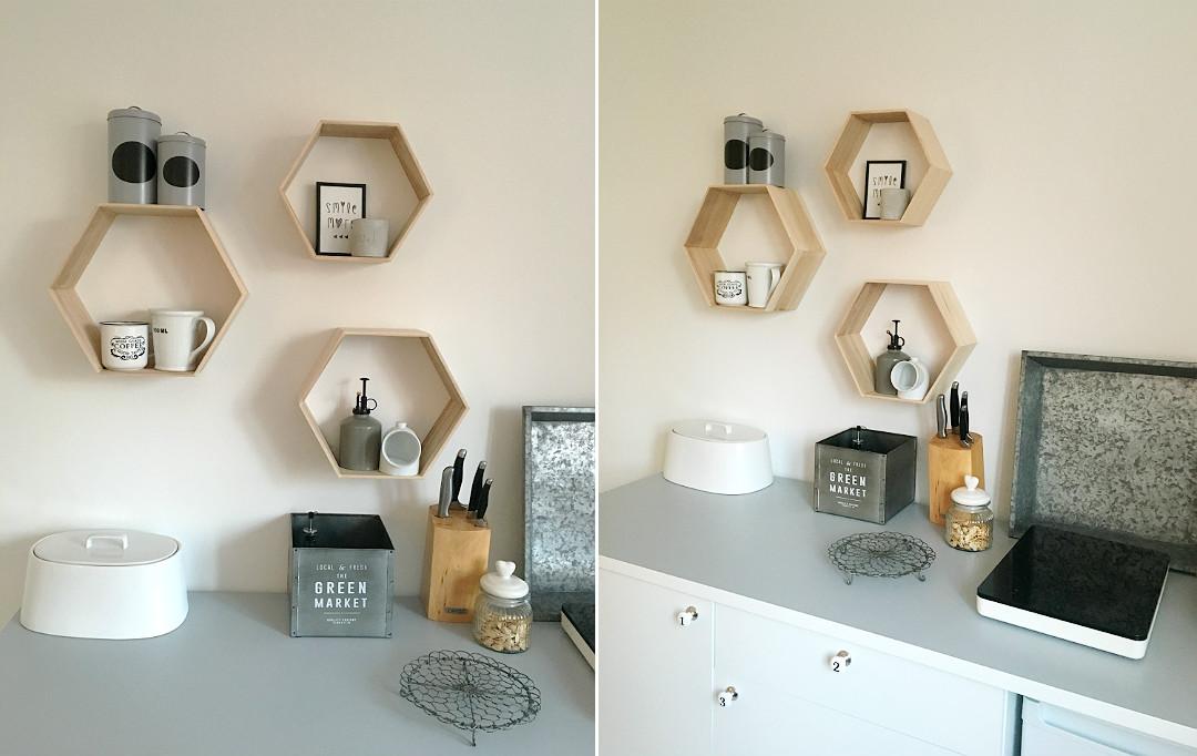 hexagonowe półki, przenośna płyta indukcyjna, tymczasowa kuchnia