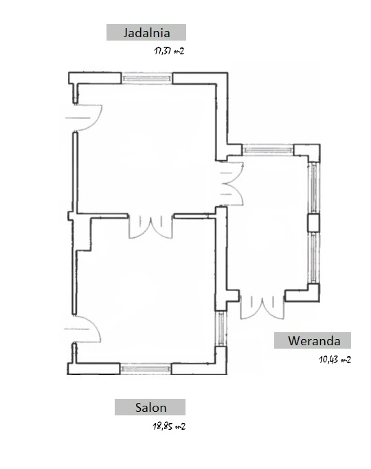 plan strefy dziennej w starym domu