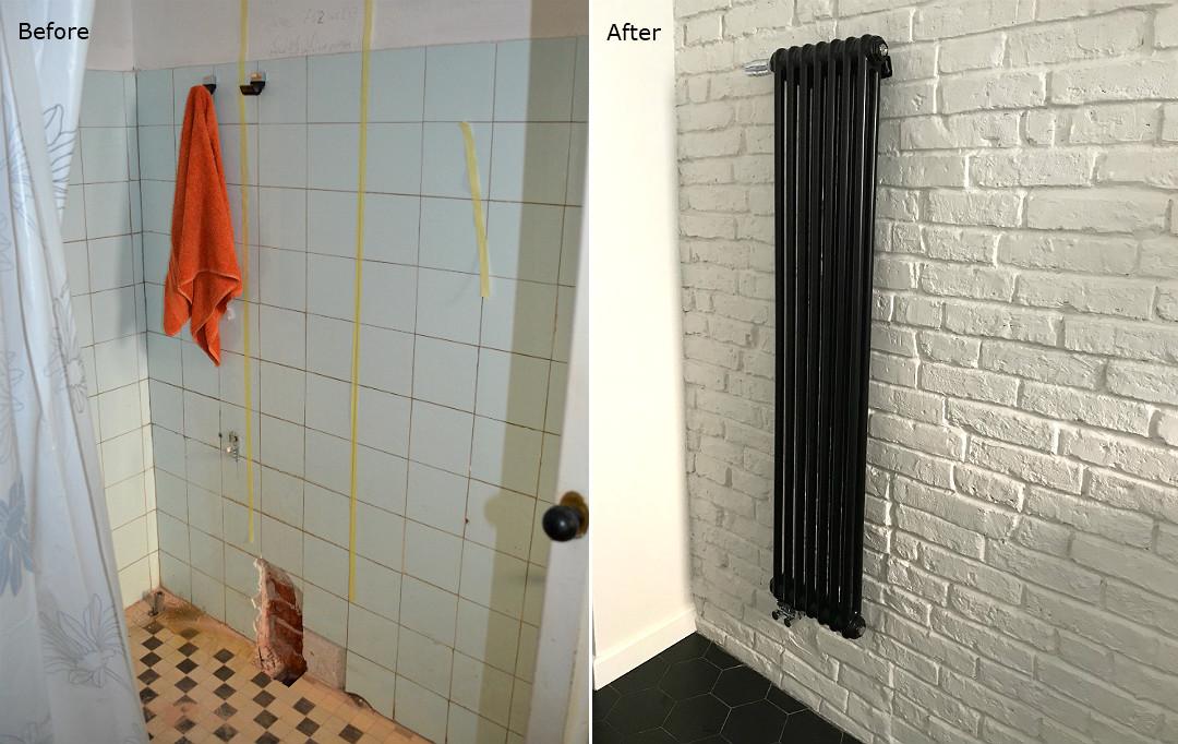 stara cegła na biało w łazience przed i po