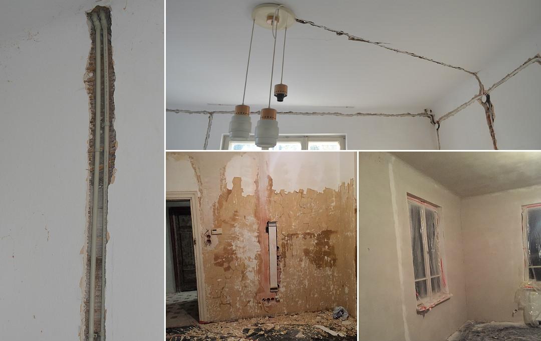 remont generalny wymiana instalacji zdzieranie tynków, tynki, instalacja elektryczna