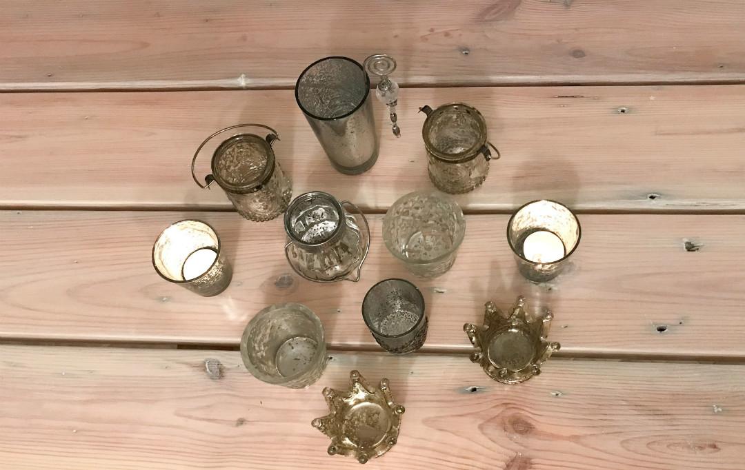 tealighty mercury glass, migoczące świeczniki