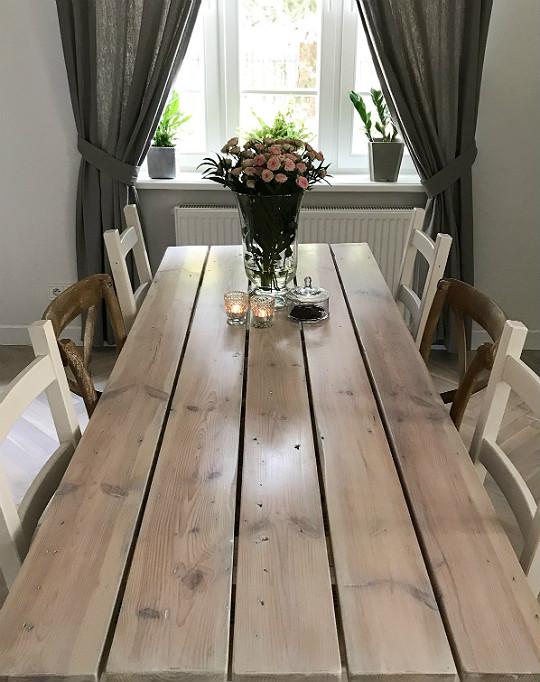 stół stare deski na stół na blat zrób to sam