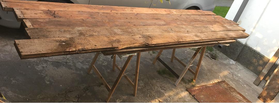 blat z desek z podłogi deski modrzewiowe stare