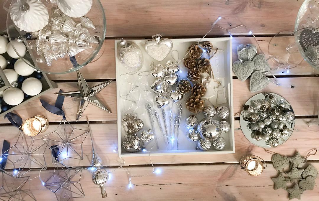 ozdoby bombki DIY srebrne białe granatowe