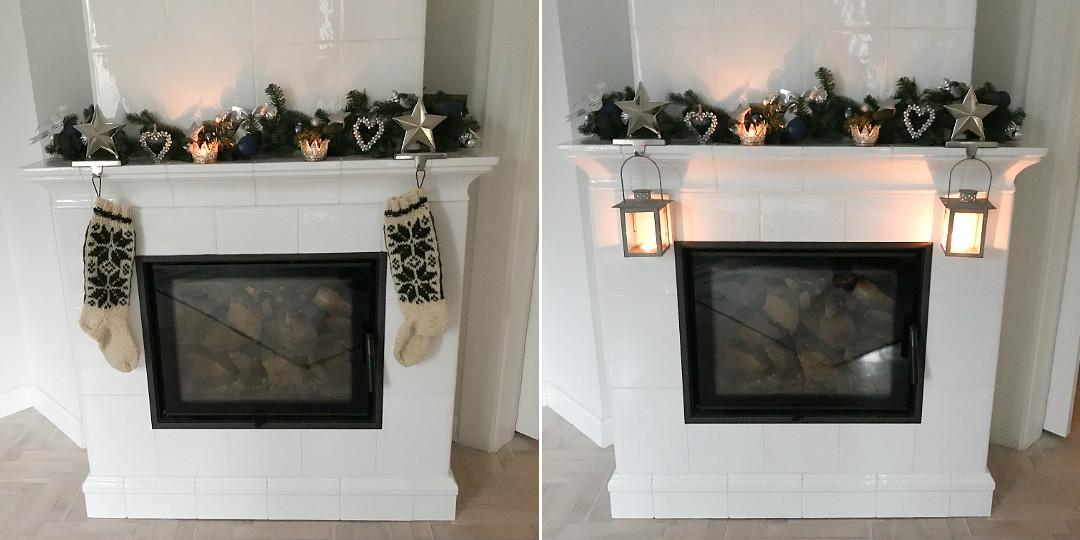 świąteczny kominek kafle białe ozdoby dekoracje na kominek