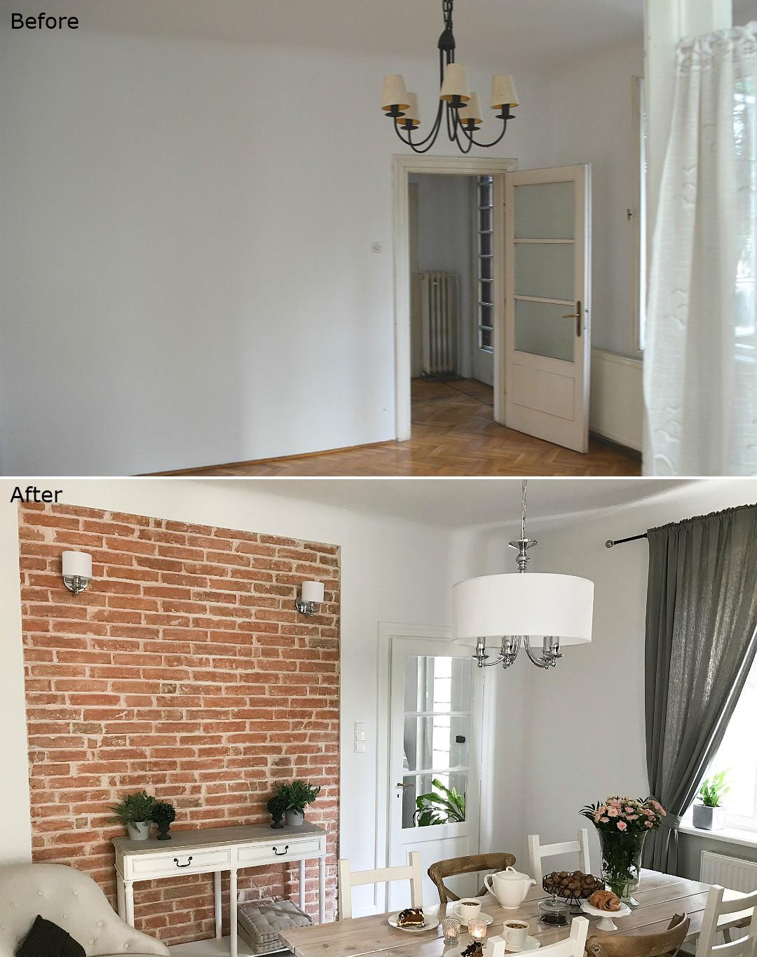 remont starego domu blog metamorfoza wnętrz jadalni przed&po