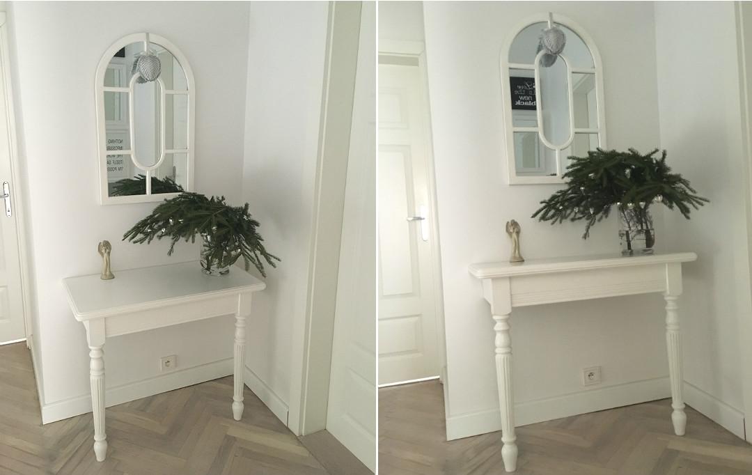 dekoracyjna konsola biała toczone nóżki piękny mebel