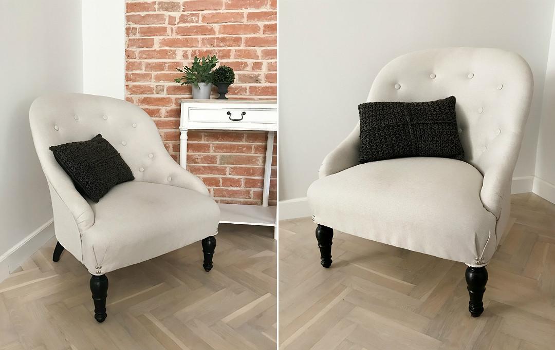 stare meble starocie renowacja fotela na toczonych nóżkach