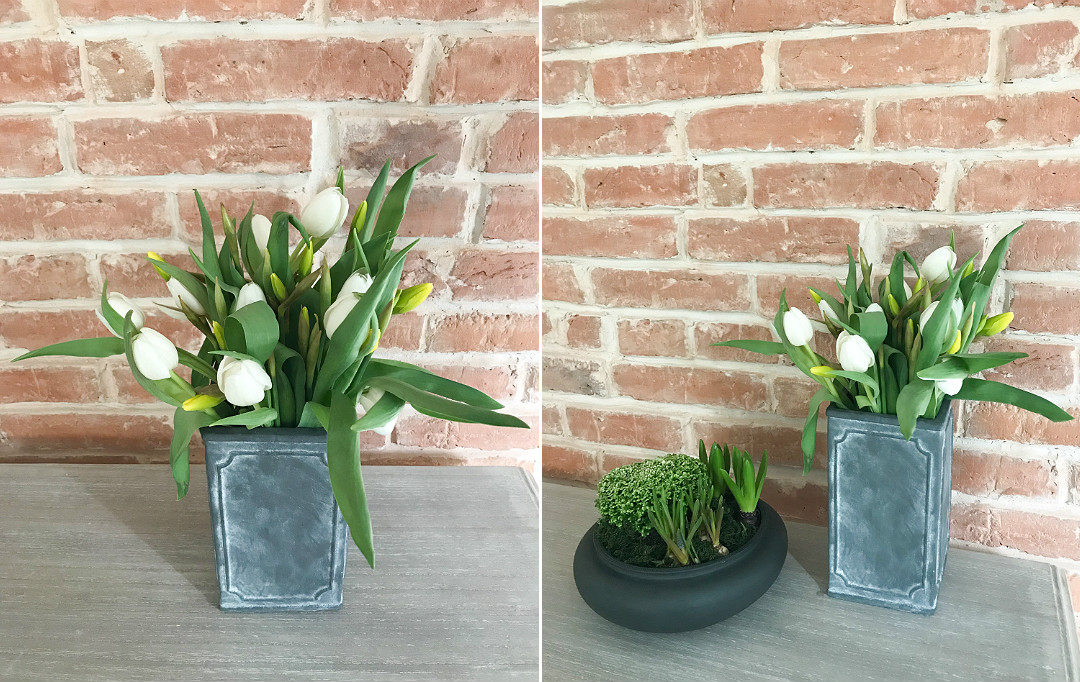 wiosenne kwiaty tulipany narcyzy żonkile stara odkryta cegła