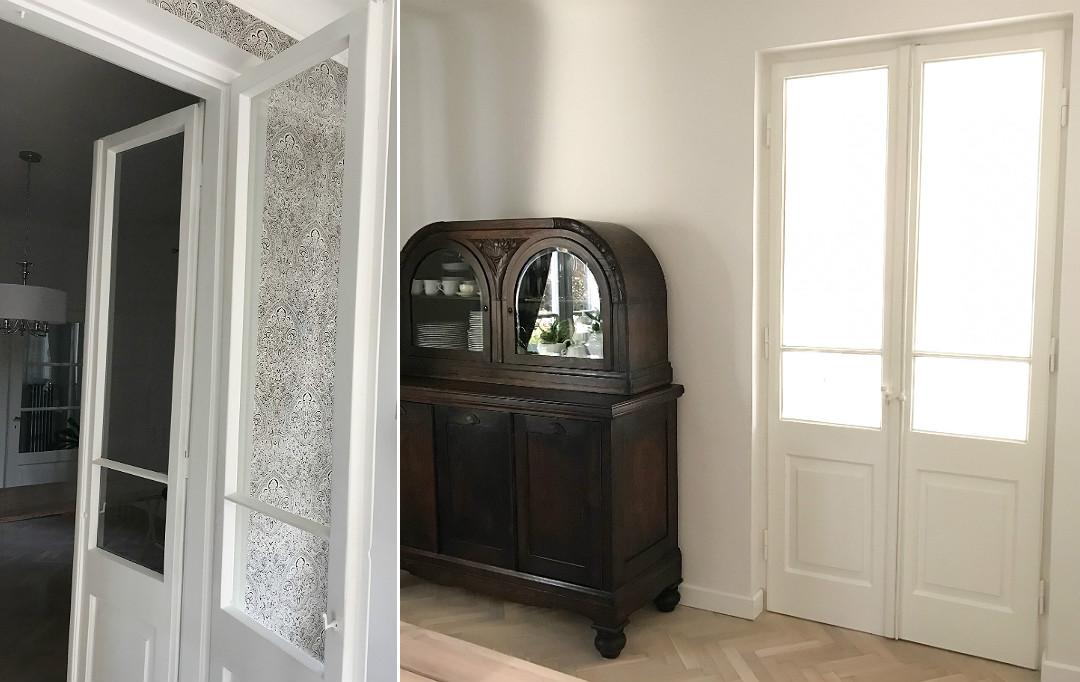 podwójne drewniane drzwi stare w starym domu