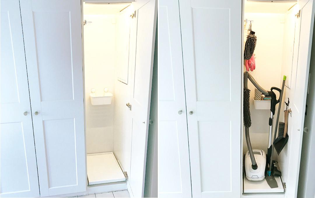 jak urządzić praktyczną szafę gospodarczą, szafa na odkurzacz