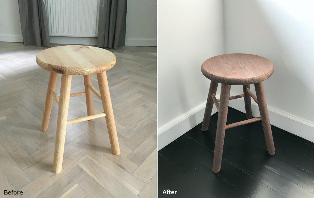 before&after metamorfoza sosnowy stołek jak przerobić pomysł na