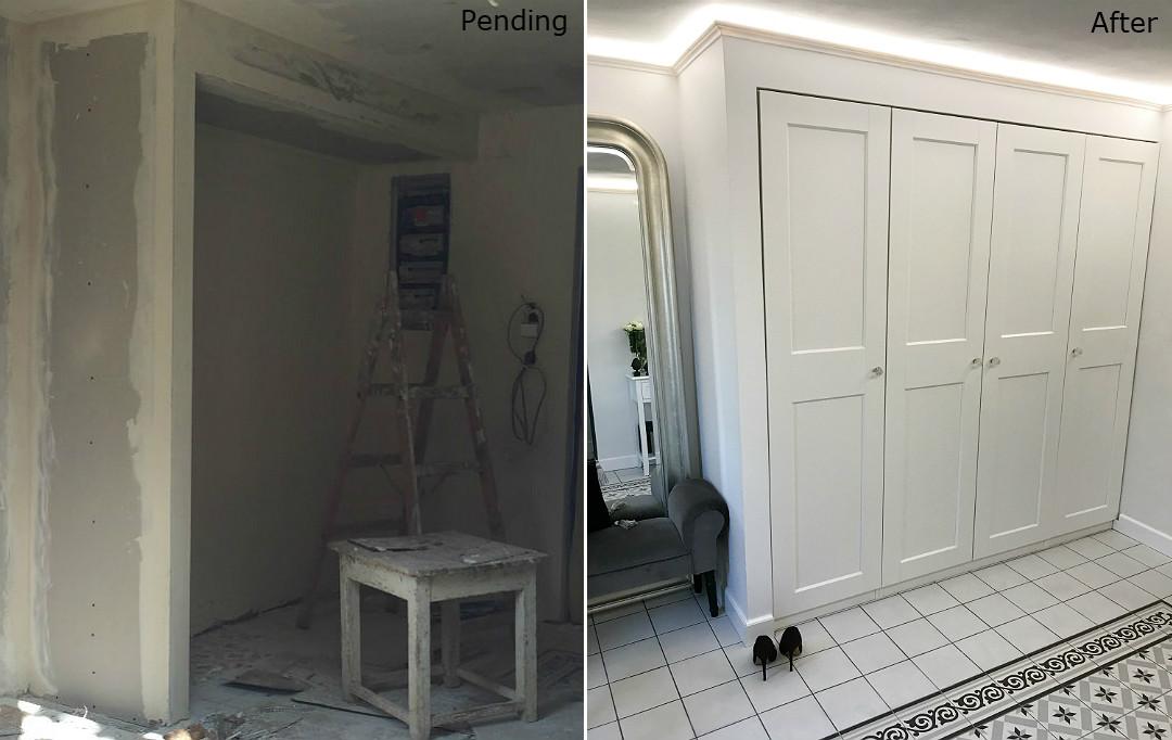 remont holu przedpokoju szafa we wnęce z sieciówki ikea pax obudowana