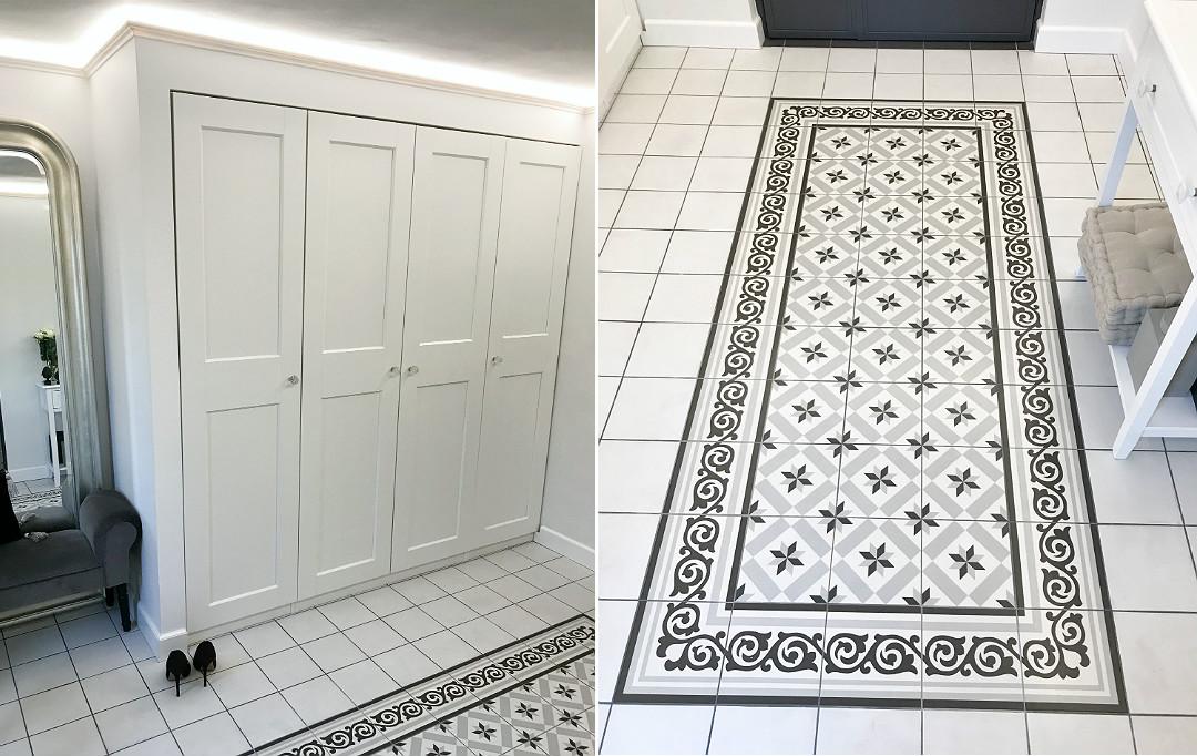 płytki podłoga dywanik z płytek w przedpokoju holu korytarzu wiatrołapie ganku