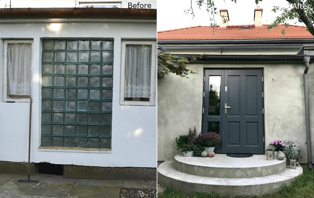 drzwi wejściowe dębowe z naświetlem bocznym dachówka marsylka remont generalny ganku
