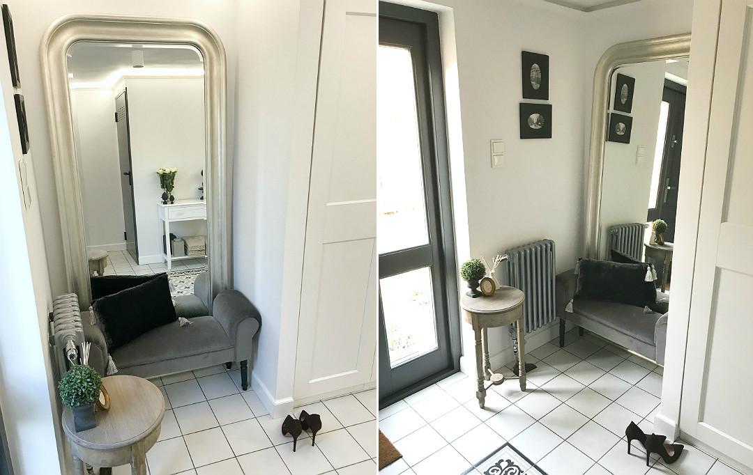 lustro SONGE Ikea stylowa ławka ławeczka w holu przedpokoju wiatrołapie strefa wejścia
