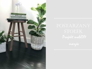 zrób to sam DIY postarzany stołek jak zrobić jak przerobić sosnowy drewniany stołek