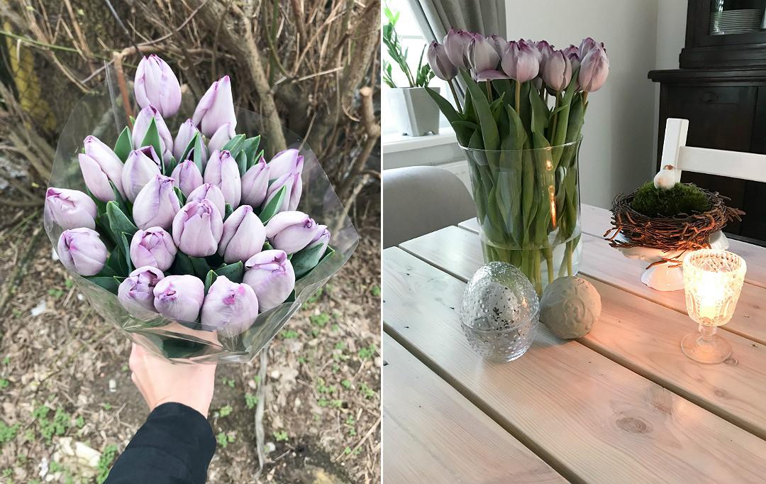 tulipany wiosenne kwiaty bukiet tulipany w wazonie