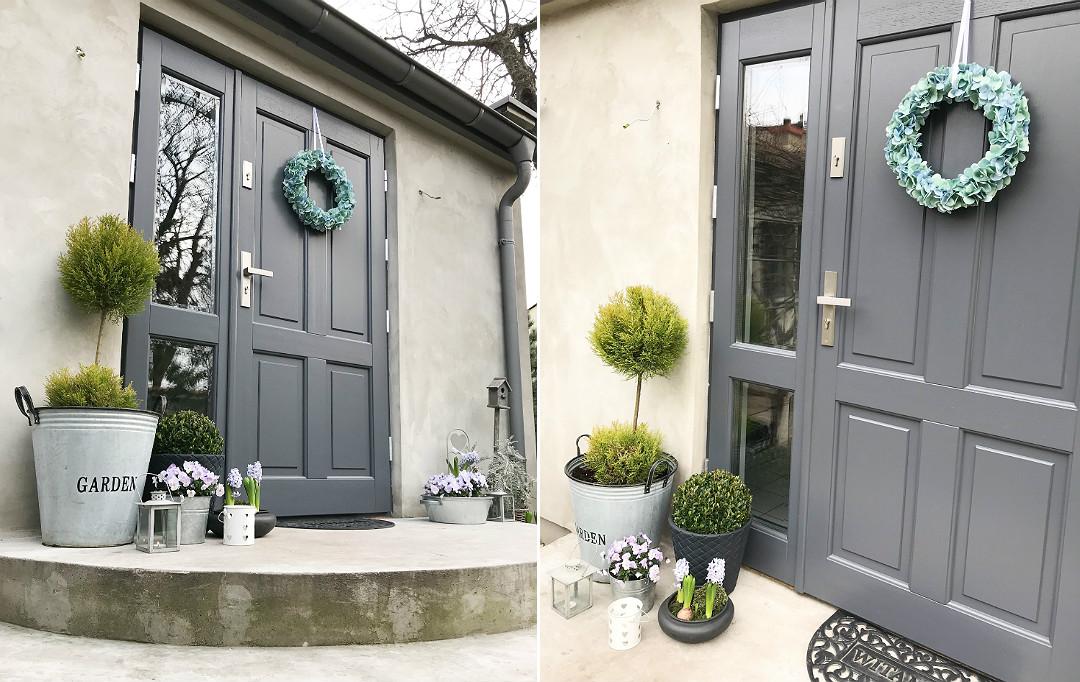 dekoracji drzwi wejściowych, wianek z hortensji, hortensjowy wianek