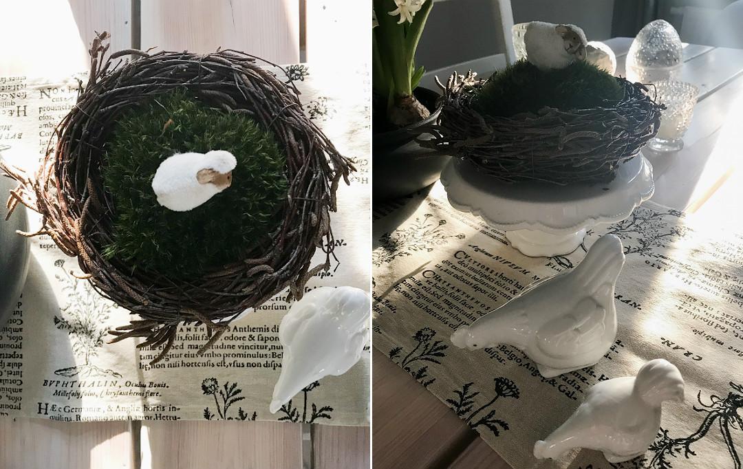 ceramiczne kurki gniazdko wianek z wierzby i mchu