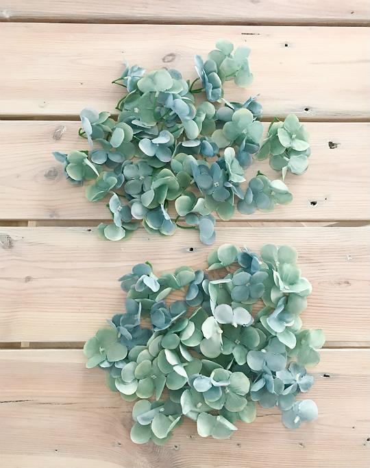 kwiatki hortensji niebieskie niebiesko-miętowe Allegro sztuczne
