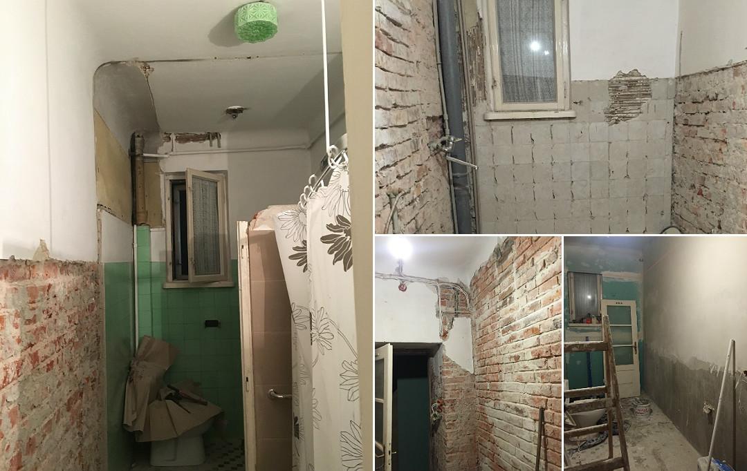 skuwanie płytek odkrywanie starej cegły nowe tynki remont generalny łazienki w łazience