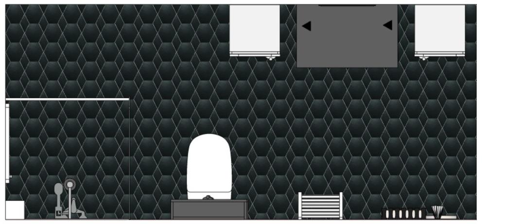 projekt łazienki rzut z góry czarne hexagony
