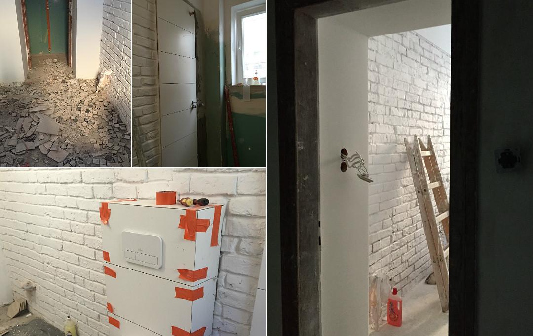 remont generalny łazienki biała cegła skuwanie wykończeniówka