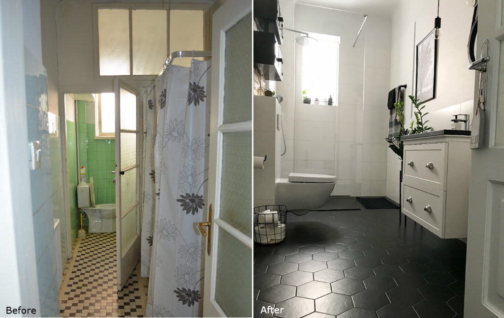 metamorfoza łazienki demolka remont extreme makeover bathroom renovation before and after before&after b&a