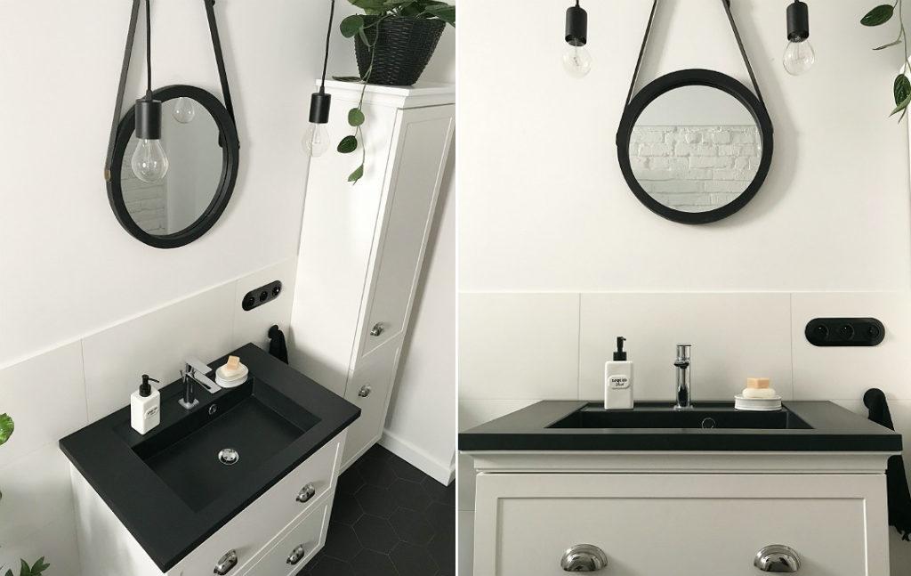 lustro na pasku w łazience eleganckie meble łazienkowe białe