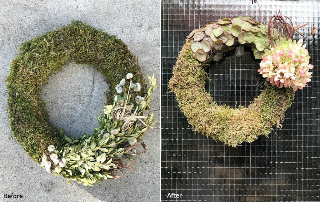 zrób to sam wianek na jesień before&after