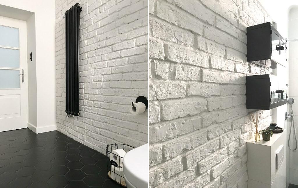 hexagony czarne w łazience łazienka czarno biała czarno-biała