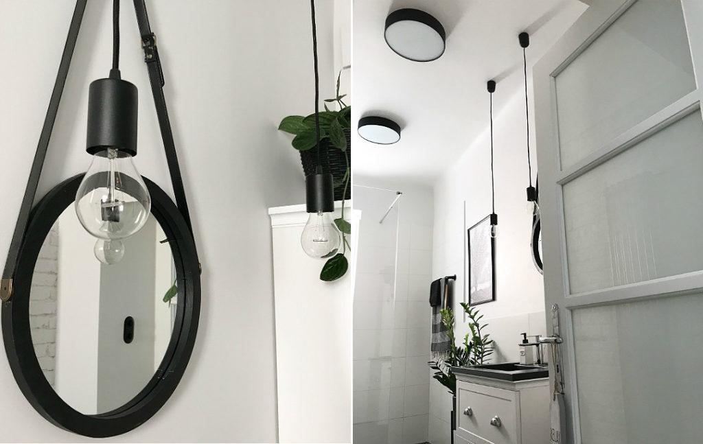 oprawki na kablu tekstylnym w łazience plafony metalowe czarne do łazienki