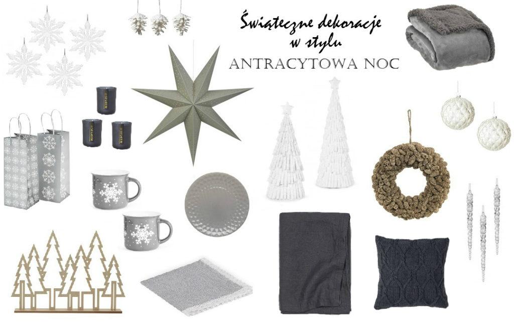 dekoracje świąteczne ozdoby choinkowe w kolorze ciemnoszarym szarości antracytu