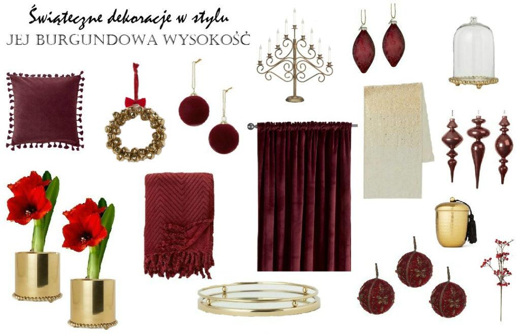 dekoracje świąteczne ozdoby choinkowe w kolorze burgunda burgundowe