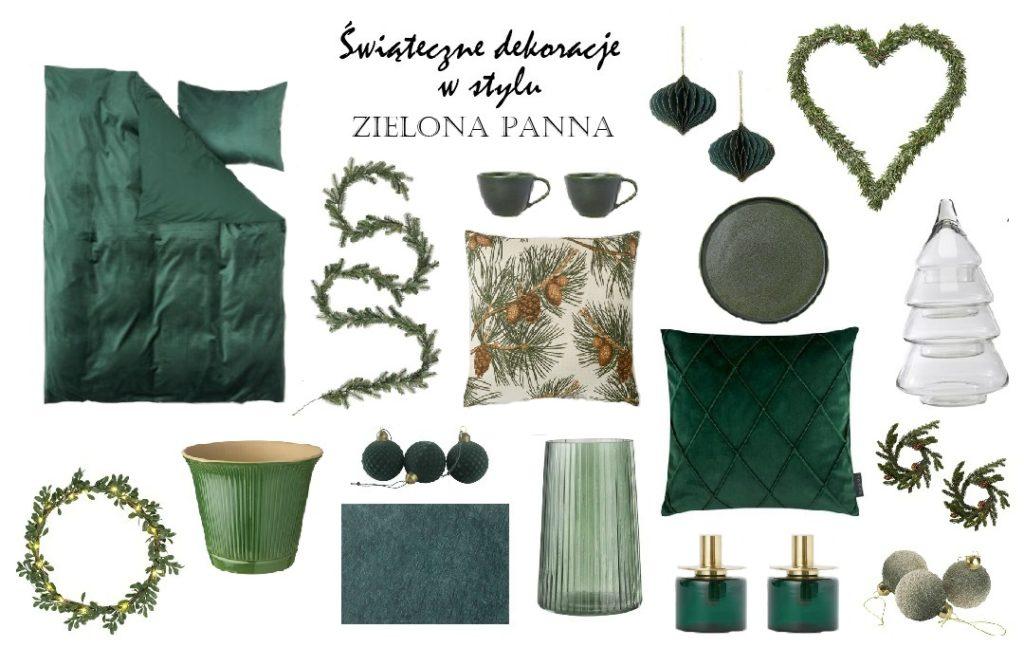 dekoracje świąteczne ozdoby choinkowe w kolorze butelkowej zieleni zielone