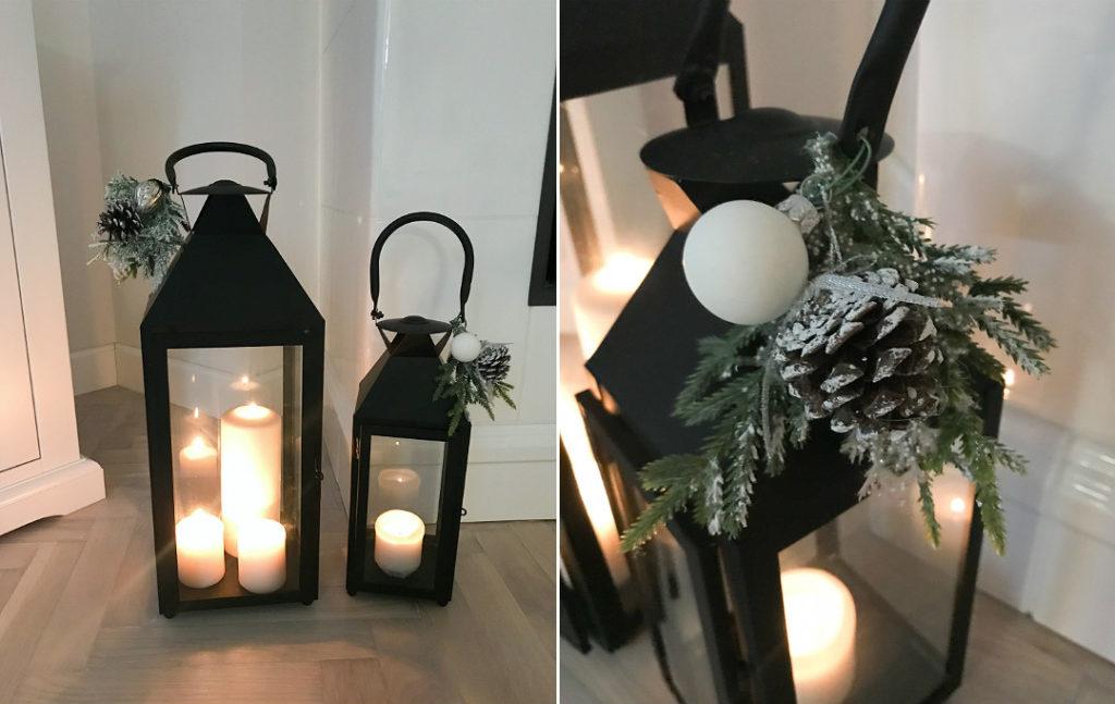 jak przyozdobić lampiony na święta dekoracja stroik na lampion