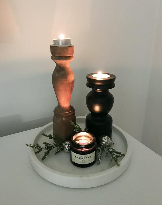 prosty i szybki stroik świeczniki drewniane święta boże narodzenie